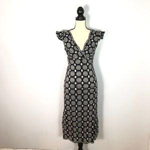Anna Sui Black Silver Tie Waist Dress      Size: S